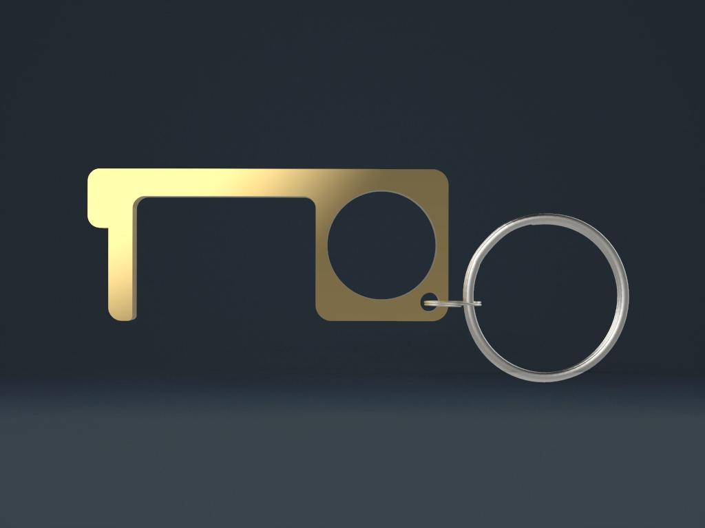 00331 Gold - Türöffner - Hygienehaken aus Metall