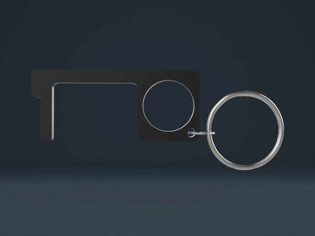 00331 black - Türöffner - Hygienehaken aus Metall