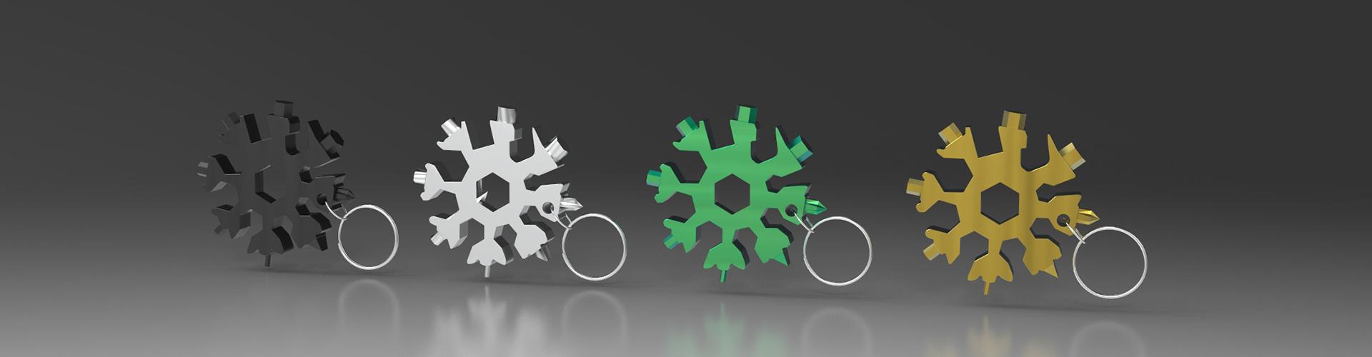 Multiflocke Erstes Bild - Snowflake - Multitool aus Metall