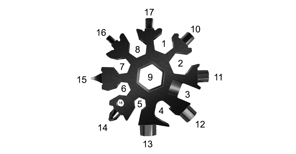 Multoflocke Beschreibung  - Snowflake - Multitool aus Metall